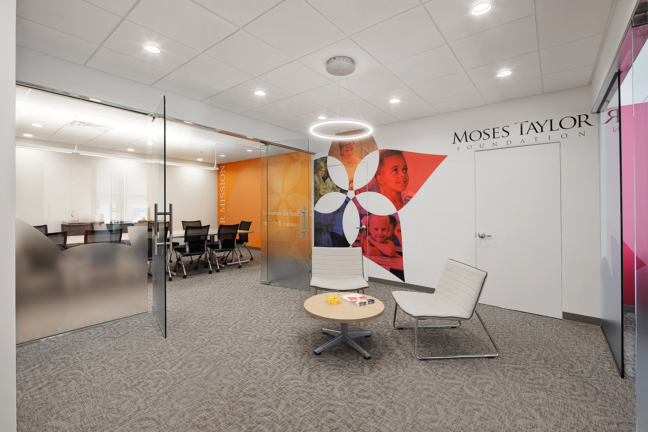 The Moses Taylor Foundation Branded Environment displays its Mission, Vision and Values.